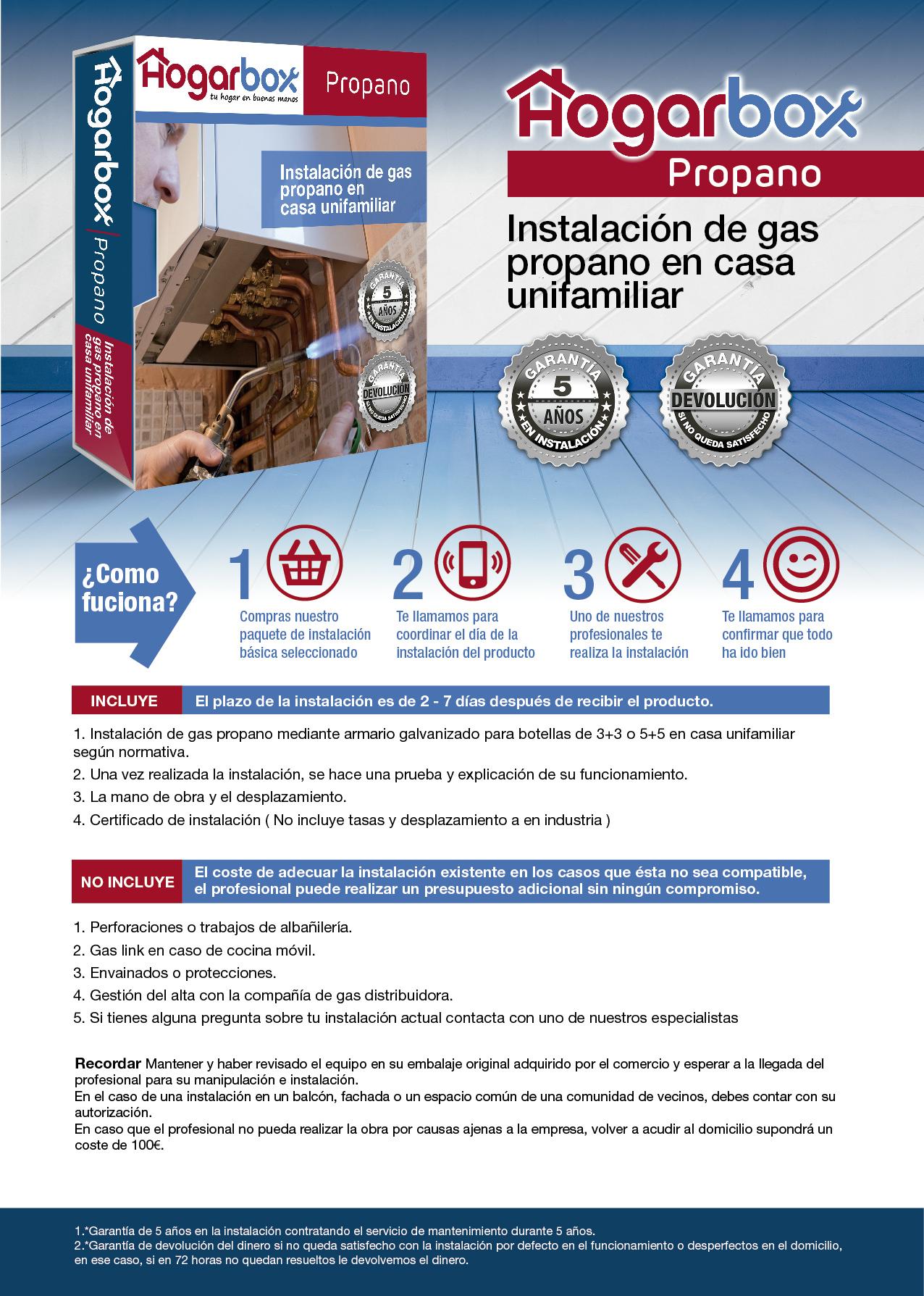 Precio instalación de gas propano en casa unifamiliar