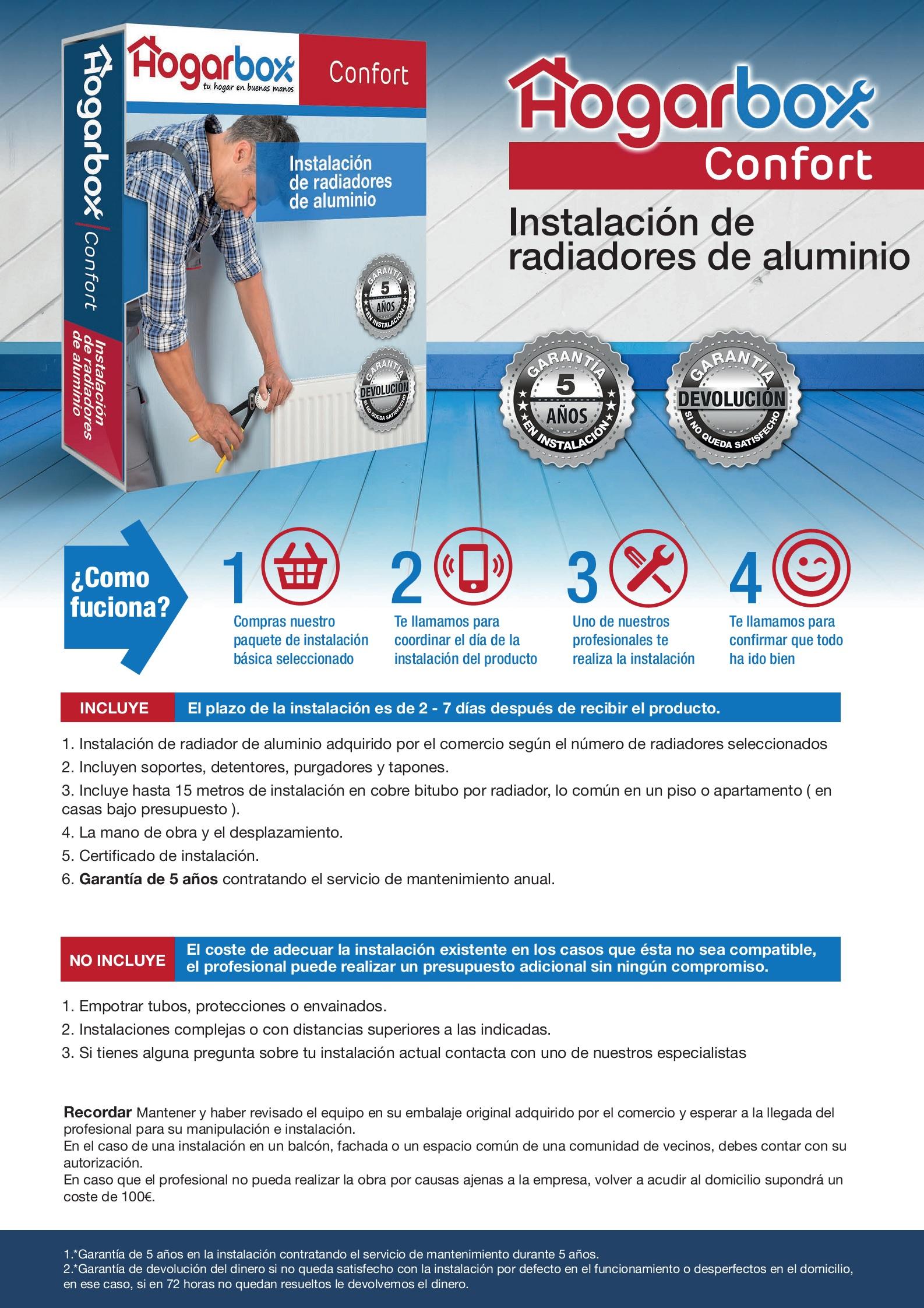 HogarBox_Confort instalacion de radiadores para Calefacción