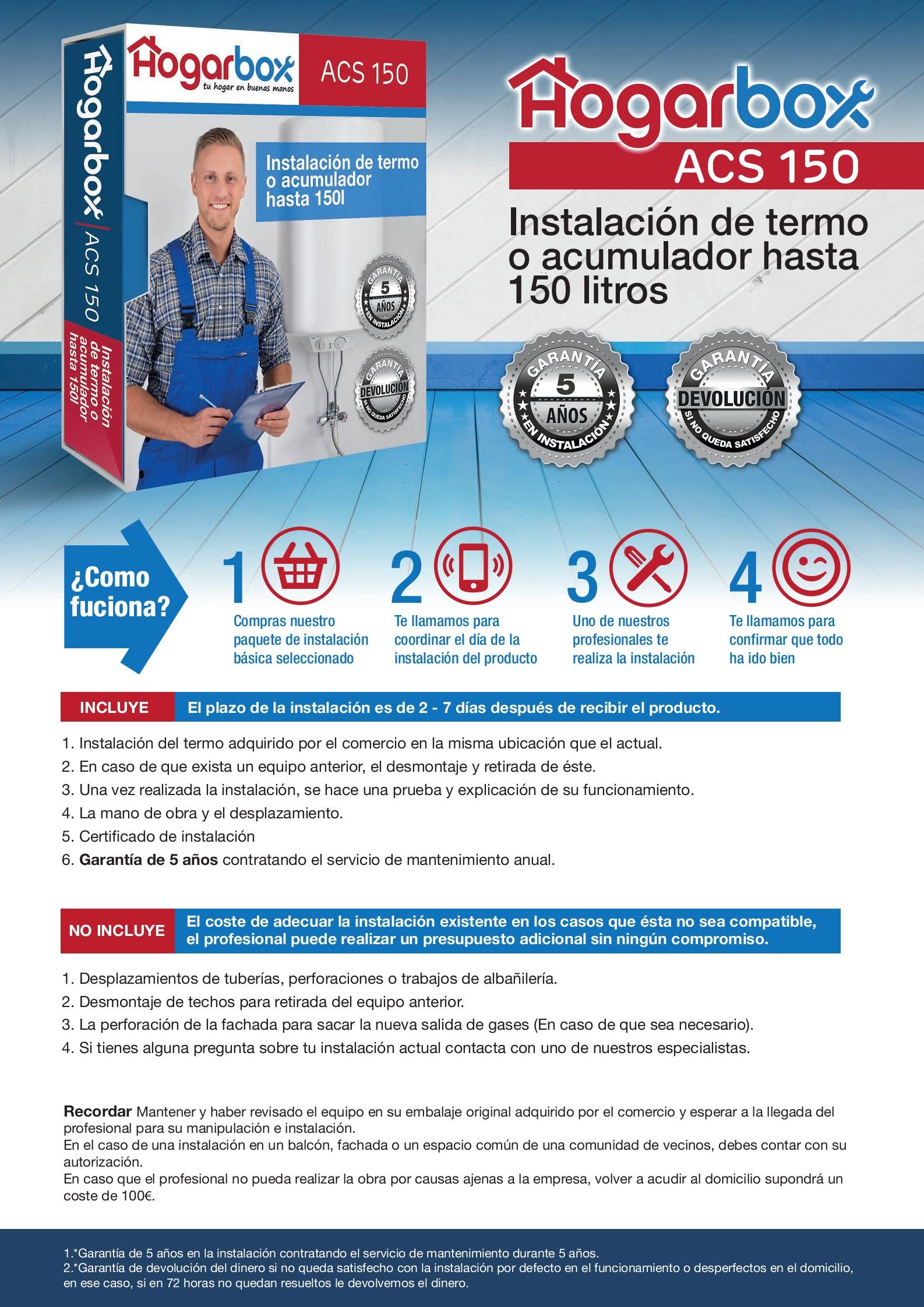 Hogarbox acs 150 instalaci n termo el ctrico 150 litros for Instalacion termo electrico precio