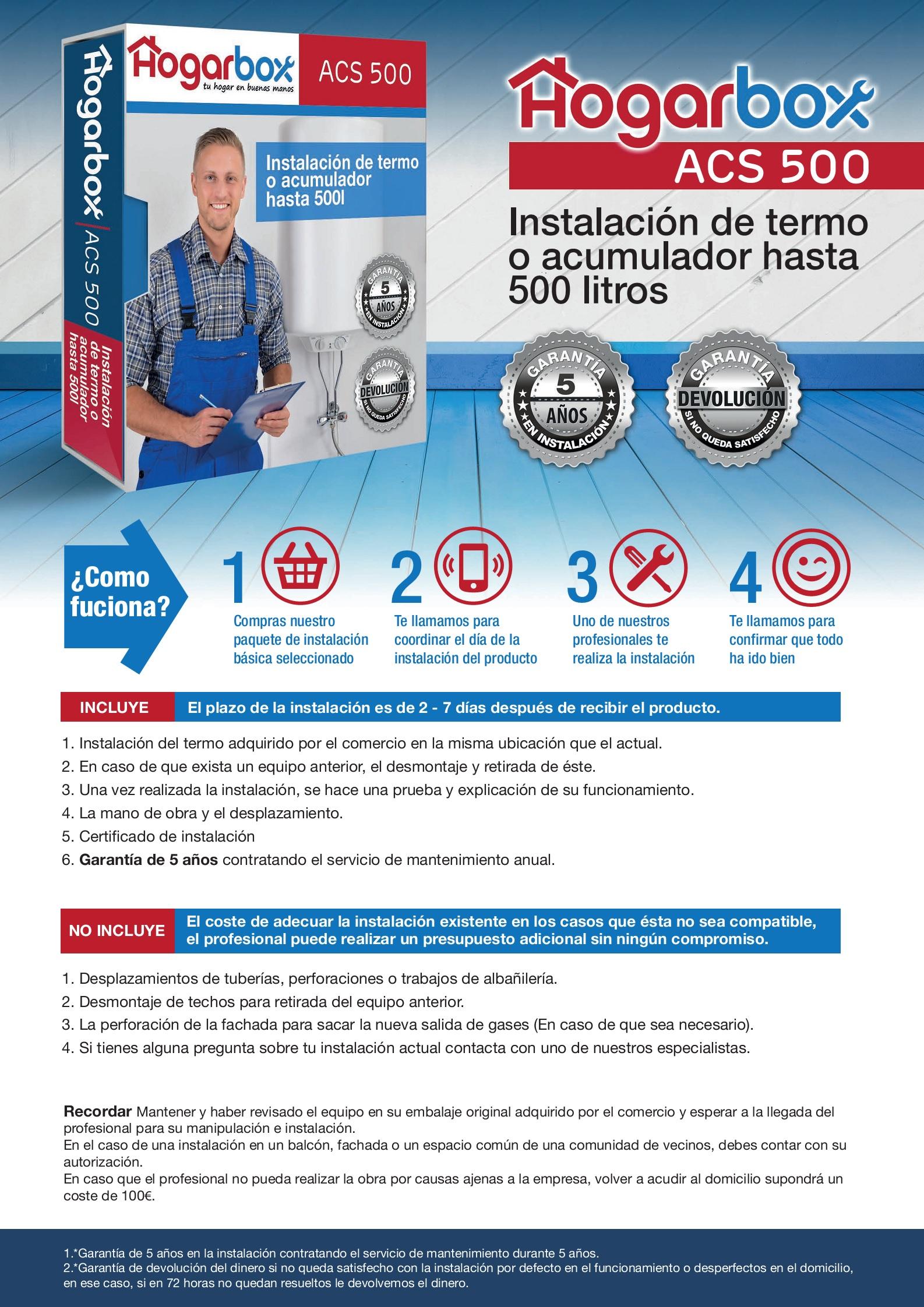 Precio instalación termo o acumulador hasta 500l