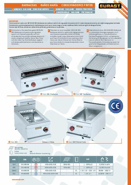 Catalogo comercial Baño Maria EURAST Gama 600Snack