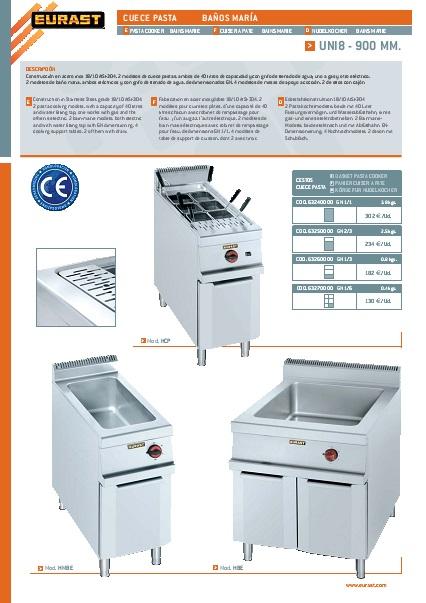 Catalogo comercial Baño Maria eléctrico Eurast Gama 900