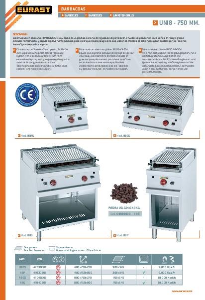 Catalogo comercial Barbacoa a gas EURAST Gama 750
