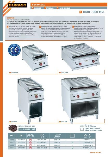 Catalogo comercial Barbacoa a gas EURAST Gama 900