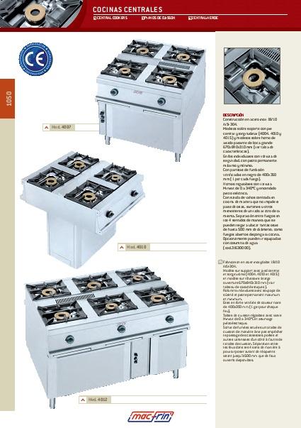 Catalogo comercial Cocinas centrales Eurast Gama 1050