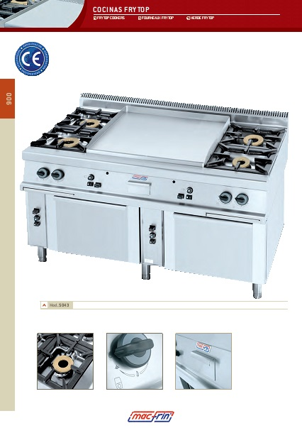 Catalogo comercial Cocinas frytop Gama 900