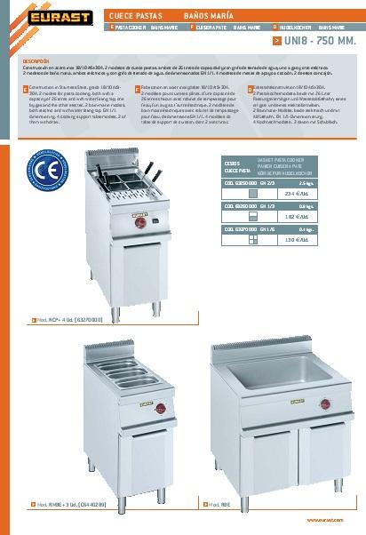 Catalogo comercial Cuece pastas eléctrico Eurast Gama 750