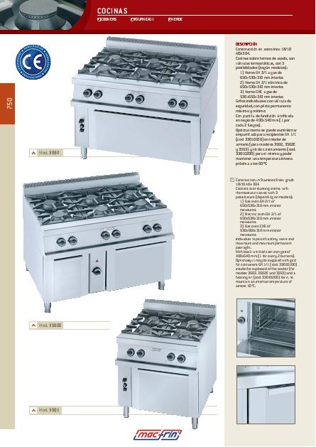 Catalogo comercial Eurast Cocinas con hornos Gama 750