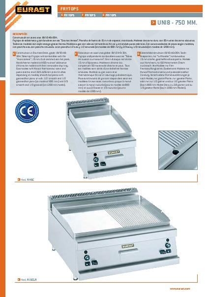 Catalogo comercial FRYTOPS  Eurast Gama 750