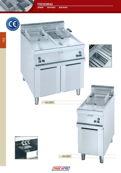 Catalogo comercial Freidoras Eurast Gama 750