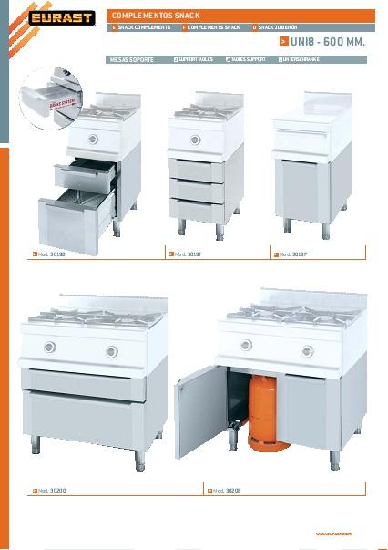 Catalogo comercial Mesas Cocción Eurast Gama 600 Snack