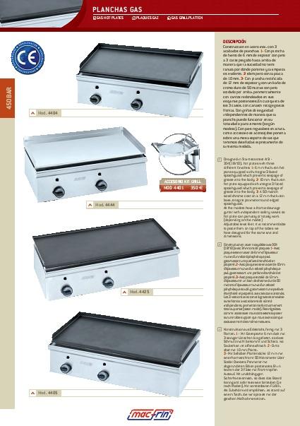 Catalogo comercial Plancha a Gas Eurast Gama 450bar