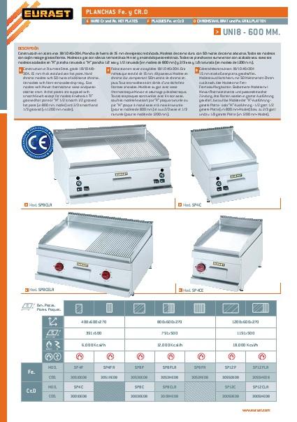 Catalogo comercial Plancha a Gas Eurast Gama 600Snack