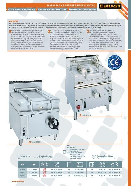 Catalogo comercial Sarten Basculante a gas Eurast Gama 750