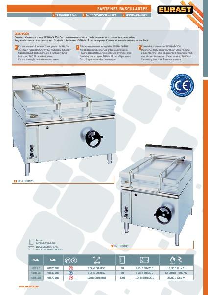 Catalogo comercial Sarten Basculante a gas Eurast Gama 900