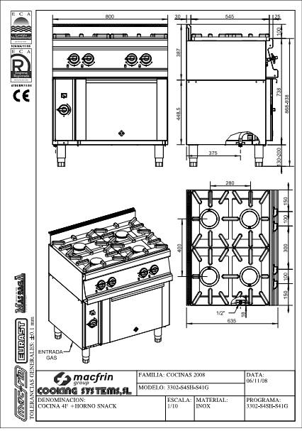 Esquema de intalación de Cocina 3302