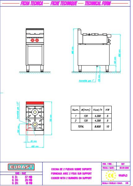Esquema de intalación de Cocina 3504