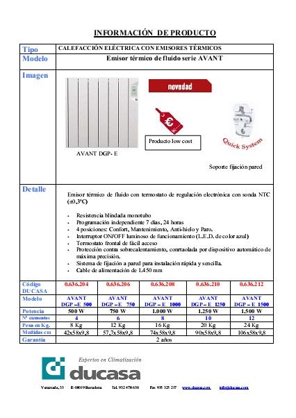 Ficha Ducasa Emisores de calor AVANT DGP-E
