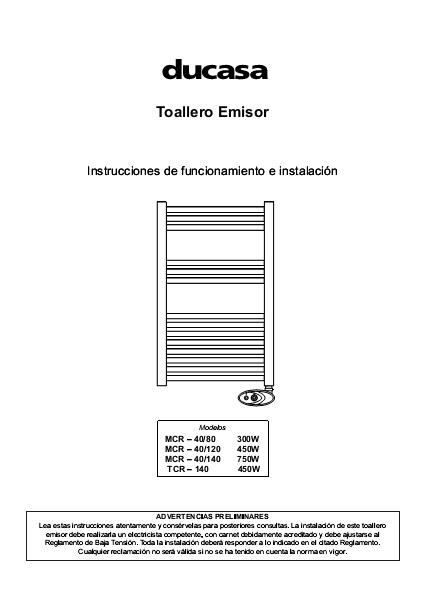 Manual Toalleros emisores serie CURVA