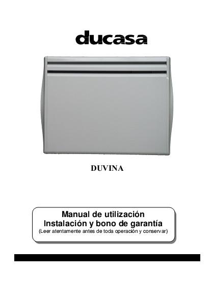 Manual emisores térmicos secos Ducasa serie DUVINA