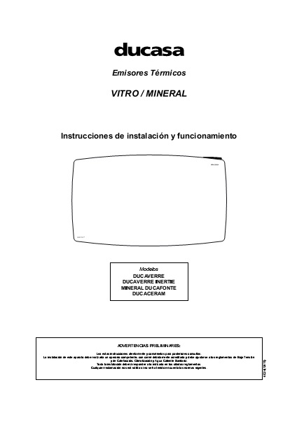 Manual emisores térmicos secos Ducasa serie THIN MINERAL