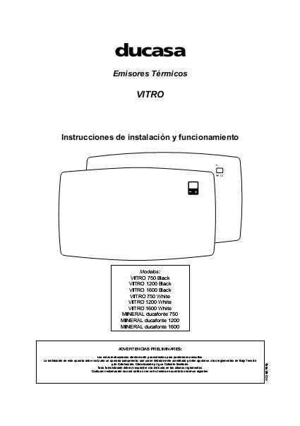 Manual emisores térmicos secos Ducasa serie VITRO