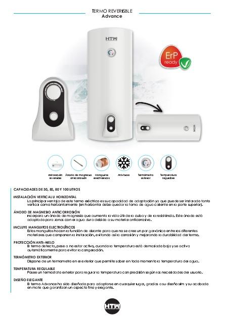 Ficha de producto Termo eléctrico HTW Advance