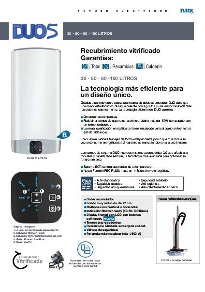 Termo eléctrico Fleck DUO5 - Ficha de producto