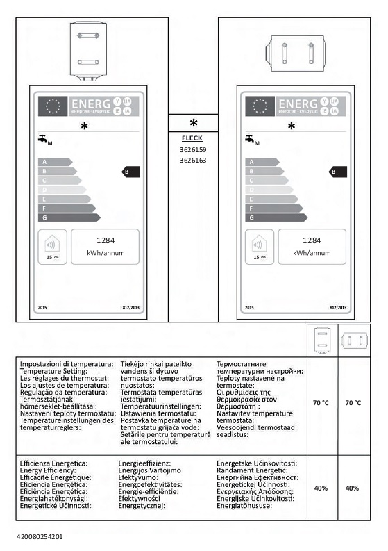 Termo eléctrico Fleck DUO5 50 - Etiquetas Energeticas