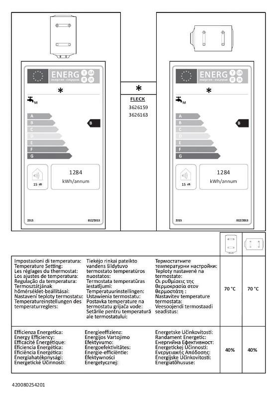 Termo eléctrico Fleck DUO7 50 - Etiquetas Energeticas