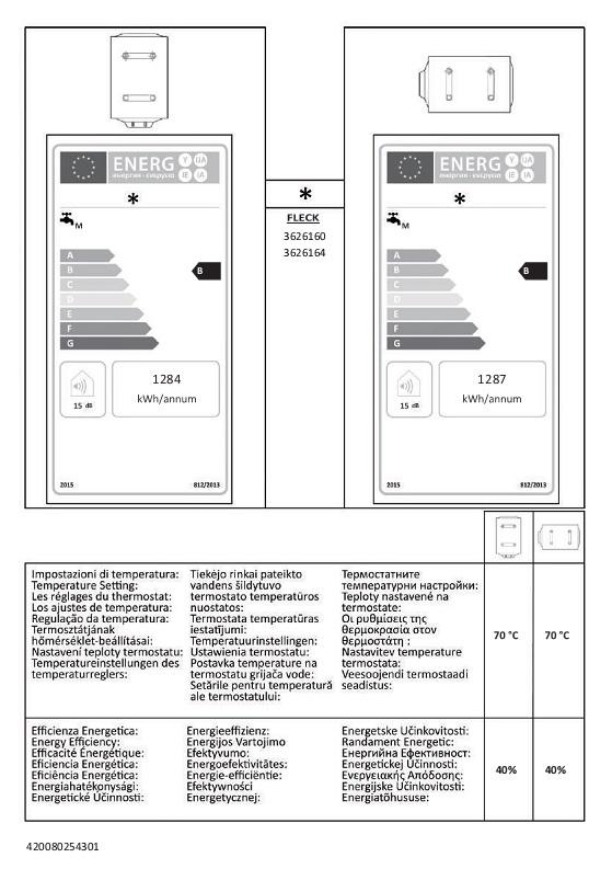 Termo eléctrico Fleck DUO7 80 - Etiquetas Energeticas