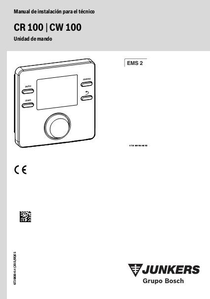 Manual tecnico Cronotermostato modulante Junkers CR100 CW100