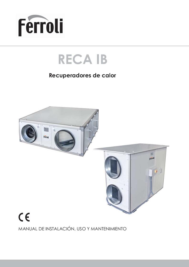 Manual Instalación Recuperadores de calor Ferroli RECA IB