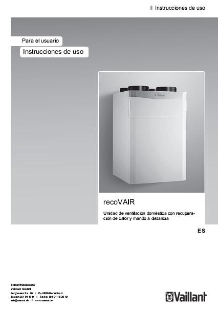 Recuperador de calor Vaillant recoVAIR - Instrucciones de uso