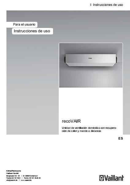 Recuperador de calor Vaillant recoVAIR 150 - Instrucciones de uso