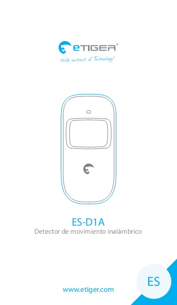 Manual Detector de movimiento inalámbrico eTIGER ES-D1A