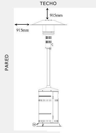 Dimensiones Estufa de exterior Mercagas MERCASOL