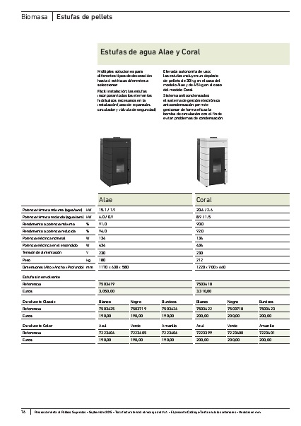 Ficha producto Estufas de pellets Baxi
