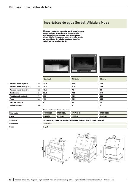 Ficha producto Insertables de leña Baxi