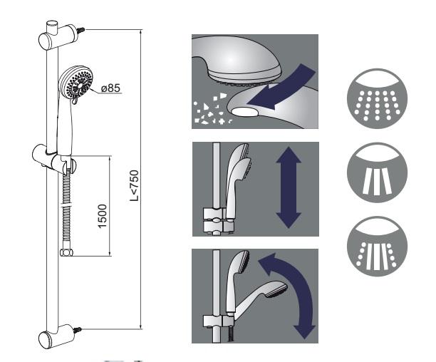 Conjunto de ducha Alterna Mediterráneo - Detalles