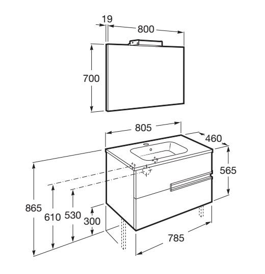 Mueble de baño Roca VICTORIA-N - Dimensiones