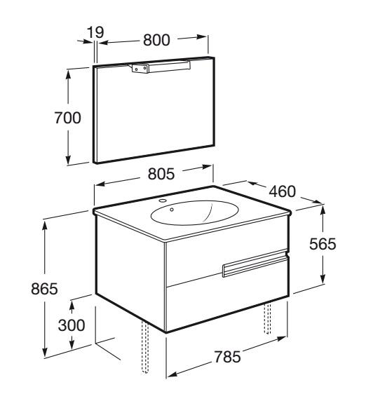 Mueble de baño Roca VICTORIA-N Oval - Dimensiones
