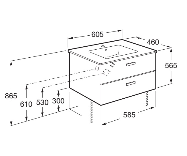 Mueble de baño Roca VICTORIA Basic - Dimensiones