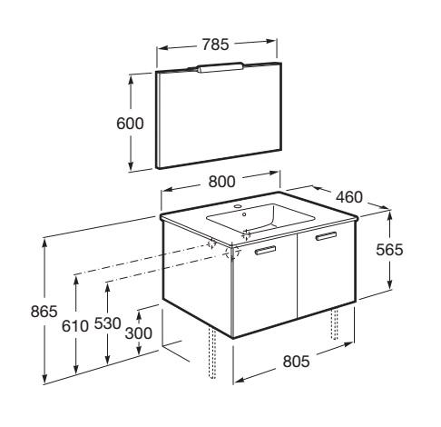 Mueble de baño Roca VICTORIA Basic 2P - Dimensiones