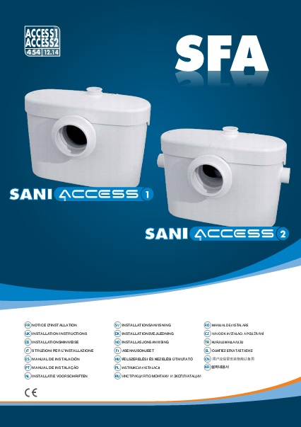 Triturador sanitario SFA SANIACCESS 1-2 - Manual de instalacion
