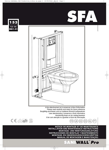 Triturador sanitario SFA SANIWALL PRO - Manual de Instalacion