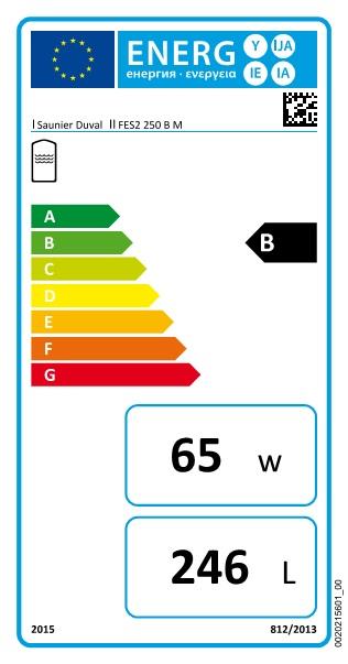 Acumulador Saunier Duval HELIOSET FES2 250  - etiqueta energetica