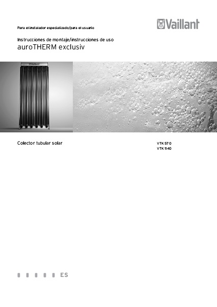Captadores solares Vaillant auroTHERM exclusiv - Manual de usuario