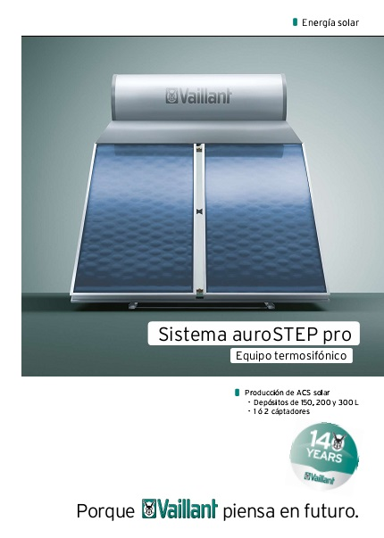 Sistema solar termosifón Vaillant auroSTEP pro - ficha comercial