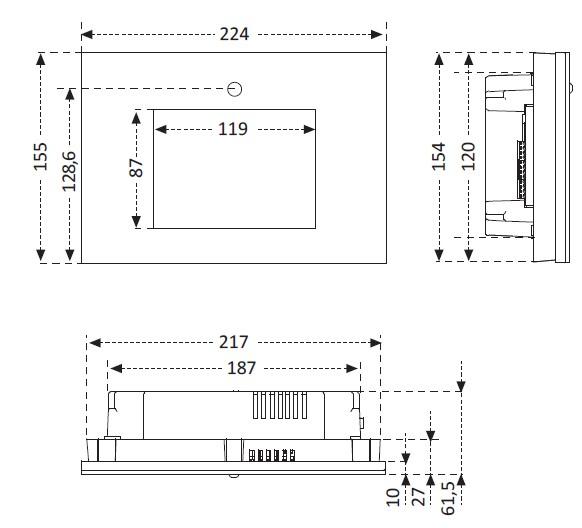 Medidas Central Domotica Deisson  Touch con Control WiFi AD2050
